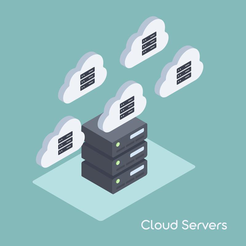 cloud servers graphic cartoon